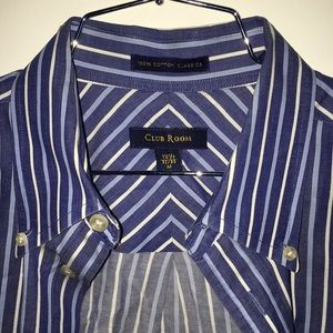 Club Room - M Blue and White Striped Shirt w/ Tab